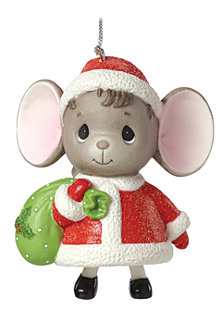 Precious Moments The Holidays Are Mice With You Mouse with Gift Bag Bell Ornament