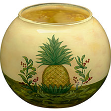 Ne Qwa Art Hand-Painted Glass Welcome Pineapple Candle Votive Holder