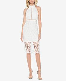 Bardot Lace Illusion Halter Dress