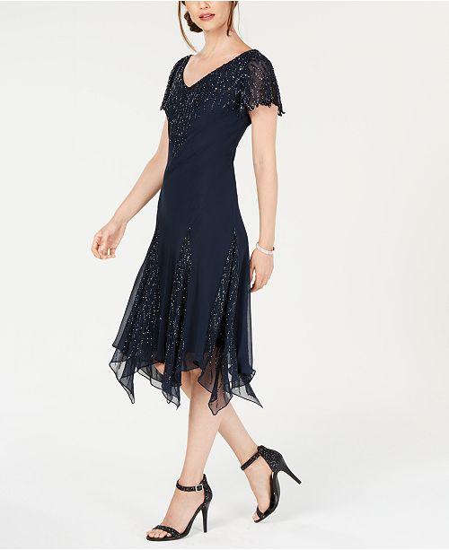 J Kara Embellished Asymmetrical Dress
