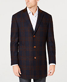 Tallia Men's Slim-Fit Navy/Brown Windowpane Plaid Overcoat