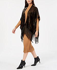 I.N.C. Burnout Velvet Feather Fringe Evening Wrap, Created for Macy's