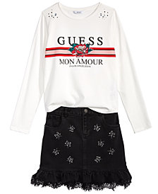 GUESS Big Girls Rhinestone T-Shirt & Denim Skirt