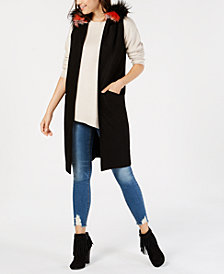 Steve Madden Faux-Fur Hooded Midi Vest
