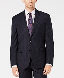 Bar III Men's Slim-Fit Stretch Blue Stripe Suit Jacket, Created for Macy's