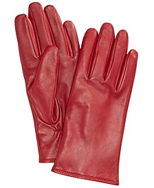 Women's Cashmere Lined Leather Tech Gloves, Created for Macy's
