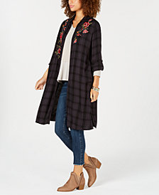 Style & Co Flower-Embroidered Plaid Completer Shirt, Created for Macy's