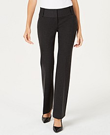 Petite Faux-Leather-Trim Wide-Leg Trousers, Created for Macy's