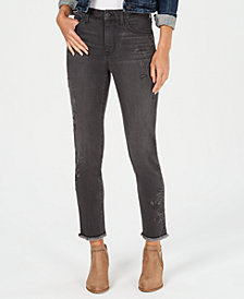 Style & Co Petite Studded Slim-Leg Ankle Jeans, Created for Macy's