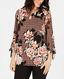 JM Collection Petite Printed Tie-Cuff Top, Created for Macy's