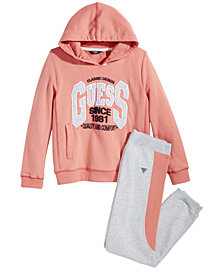 GUESS Big Girls Fleece Hoodie & Jogger Pants