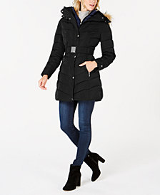 Tommy Hilfiger Faux-Fur-Trim Hooded Belted Puffer Coat
