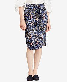 Lauren Ralph Lauren Belted Print Twill Skirt