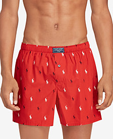 Polo Ralph Lauren Men's Pony-Print Woven Cotton Boxer Briefs