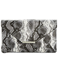 I.N.C. Luci Python-Embossed Envelope Clutch, Created for Macy's