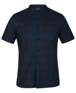 HURLEY Bison Check Twill Woven Shirt in Blue Force Htr