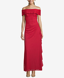 Betsy Adam Ruched Off The Shoulder Gown