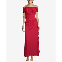 Betsy & Adam Ruched Off-The-Shoulder Gown