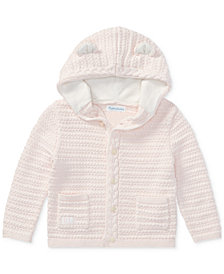 Ralph Lauren Baby Girls Bear-Hood Cotton Cardigan