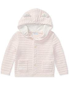 Ralph Lauren Baby Girls Bear-Hood Cotton Cardigan