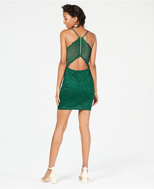 Juniors Glitter Lace Racerback Bodycon Dress