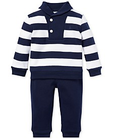 Polo Ralph Lauren Baby Boys Cotton Striped Top & Pants Set