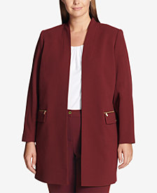 Calvin Klein Plus Size Collarless Open-Front Jacket