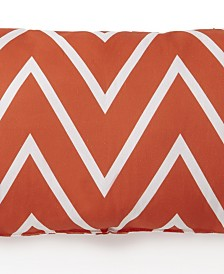 Flamingo Palms Long Rectangle Cushion - Orange Zigzag