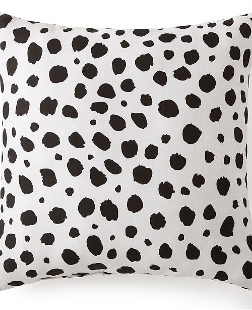 "Colcha Linens Animal Spots Black & White Square Cushion 18""x18"""