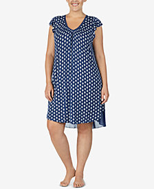 Ellen Tracy Plus Size Printed Short Nightgown