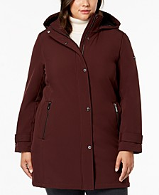 Plus Size Water Resistant Hooded Raincoat