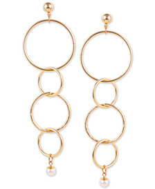 GUESS Gold-Tone Imitation Pearl Interlocking Circles Linear Drop Earrings