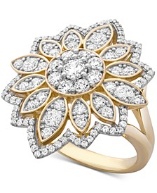 Diamond Flower Cluster Ring (1-1/2 ct. t.w.) Ring in 14k Gold, Created for Macy's