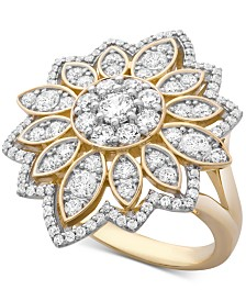 Wrapped in Love™ Diamond Flower Cluster Ring (1-1/2 ct. t.w.) Ring in 14k Gold, Created for Macy's
