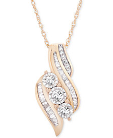 "Wrapped in Love™ Diamond Three-Stone 18"" Pendant (1/2 ct. t.w.) in 14k Gold, Created for Macy's"
