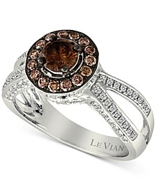 Chocolatier® Diamond Halo (1-1/10 ct. t.w.) Ring in 14k White Gold