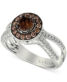 Le Vian Chocolatier® Diamond Halo (1-1/10 ct. t.w.) Ring in 14k White Gold