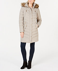 Michael Michael Kors Faux Fur Trim Hooded Puffer Coat Created For Macys