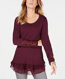 Style & Co Lace-Trim Sweater, Created for Macy's