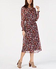Tommy Hilfiger Smocked Floral-Print Dress