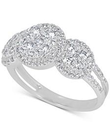 Diamond Halo Trio Cluster Ring (1-3/8 ct. t.w.) in 14k White Gold