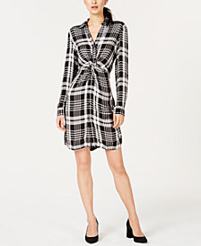 I.N.C. Plaid Twist-Front Shirtdress, Created for Macy's