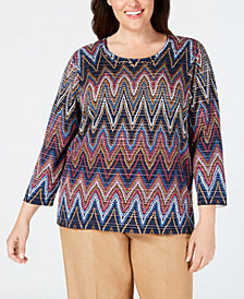 Alfred Dunner Plus Size Chevron-Print Top