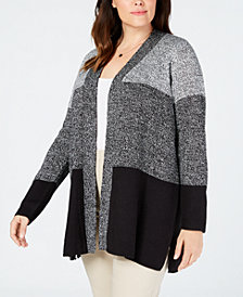 Karen Scott Plus Size Colorblock Cardigan, Created for Macy's
