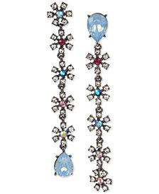 Betsey Johnson Hematite-Tone Crystal & Stone Daisy Mismatch Linear Drop Earrings