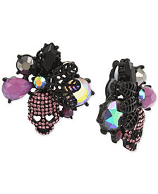 Betsey Johnson Hematite-Tone Crystal & Stone Skull Clip-On Stud Earrings