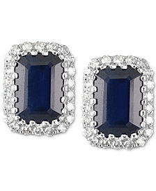 Sapphire (1-1/4 ct. t.w.) & Diamond (1/10 ct. t.w.) Stud Earrings in 14k White Gold