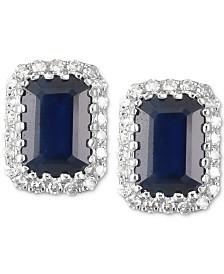 Sapphire (1-1/4 ct. t.w.) & Diamond (1/10 ct. t.w.) Stud Earrings in 14k White Gold