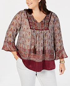 Style & Co Plus Size Mixed-Print Bell-Sleeve Peasant Blouse, Created for Macy's