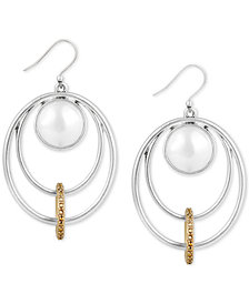 Lucky Brand Two-Tone Imitation Pearl Multi-Circle Drop Earrings, Created for Macy's